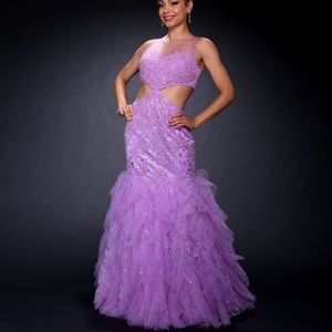 JOVANI Lavender Mermaid Gown